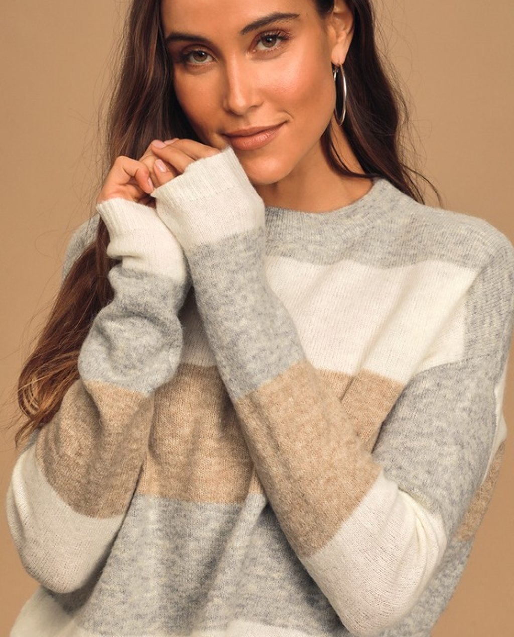 Think Cozy Thoughts Grey Multi Striped Sweater