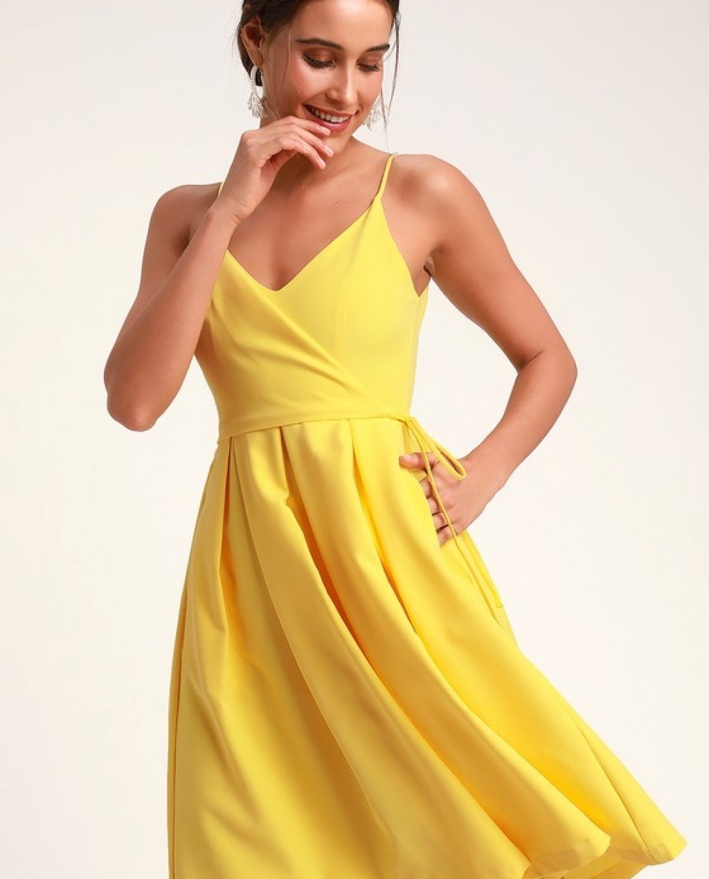 Thinking About You Yellow Pleated Faux Wrap Midi Skater Dress