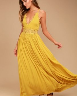 This is Love Mustard Yellow Lace Maxi Dress