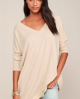 Ticket to Cozy Beige Oversized Sweater