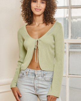 Tie It With Me Sage Green Tie-Front Cropped Cardigan Sweater