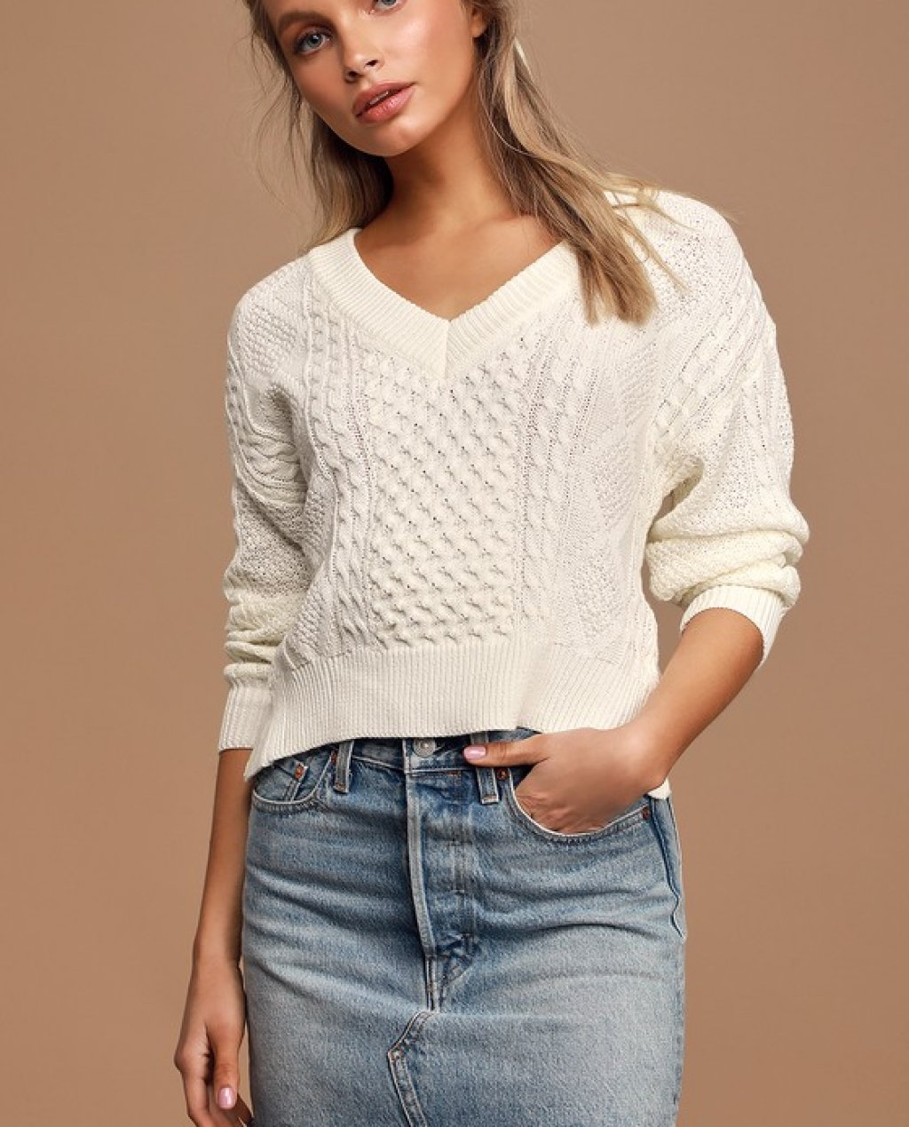 Ties That Bind Ivory Cable Knit Cutout Tie-Back Knit Sweater