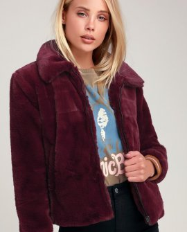 Tinnifer Burgundy Faux Fur Bomber Jacket