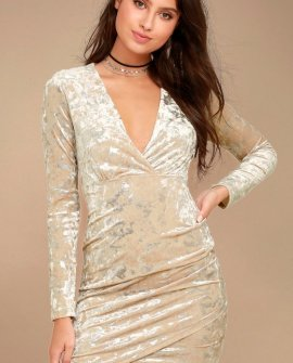 Tinseltown Silver and Beige Velvet Long Sleeve Bodycon Dress