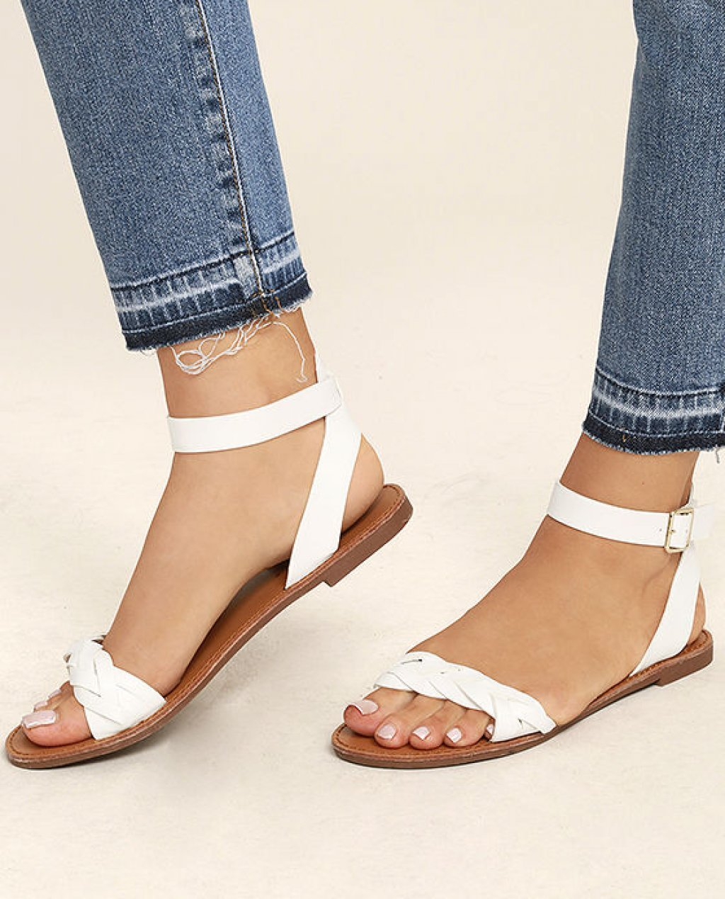 Tinsley White Ankle Strap Sandals