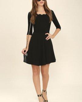 Tip the Scallops Black Dress