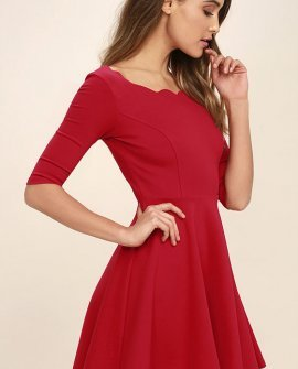 Tip the Scallops Red Dress