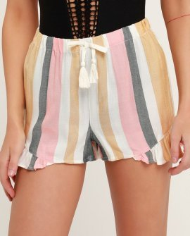 Tisley White Multi Striped Ruffle Shorts