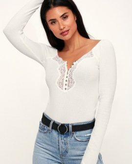 To the West Ivory Lace Long Sleeve Top