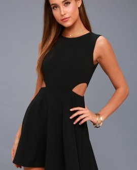 Toast to You Black Cutout Skater Dress