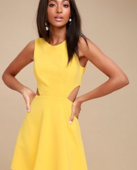 Toast to You Yellow Cutout Skater Dress