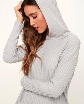Tobey Grey Ribbed Long Sleeve Pullover Hoodie