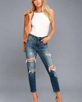 Tobi Medium Wash High-Waisted Distressed Skinny Jeans