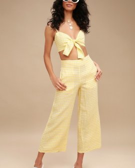 Tomas Yellow Gingham Culottes
