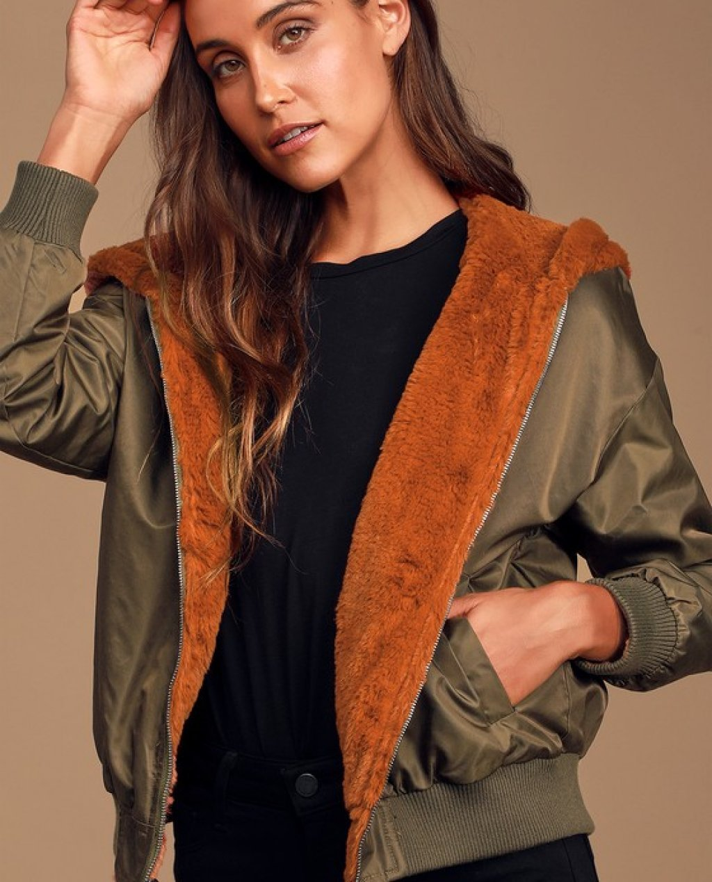 Top Notch Olive Green Faux Fur Reversible Bomber Jacket