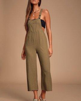 Torrey Olive Green Wide-Leg Overalls