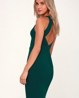 Total Knockout Forest Green Backless Bodycon Dress