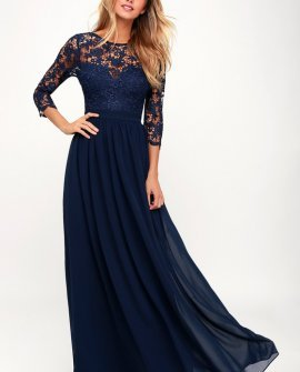 Touch My Heart Navy Blue Lace-Up Lace Maxi Dress