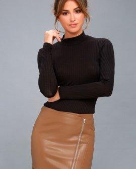 Tough Stuff Tan Vegan Leather Mini Skirt