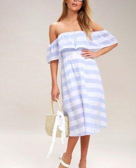 Transatlantic Voyage Blue and Ivory Striped Midi Dress