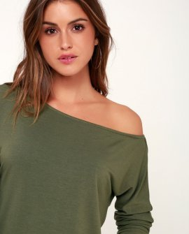 Travis Olive Green Long Sleeve Sweater Top