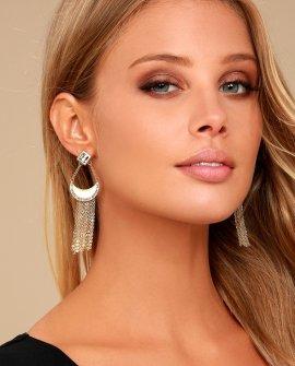 Treasure Chest Gold Rhinestone Earrings