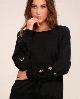 Trend Zone Black Grommet Sleeve Sweater