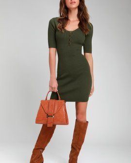 Trend and Snap Olive Green Ribbed Bodycon Sweater Dress