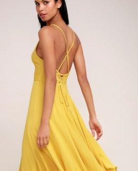 Troulos Mustard Yellow Lace-Up Midi Dress