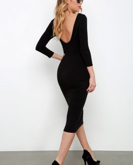True To You Black Midi Dress