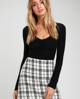 Tweed Be Good Together White Plaid Tweed Mini Skirt