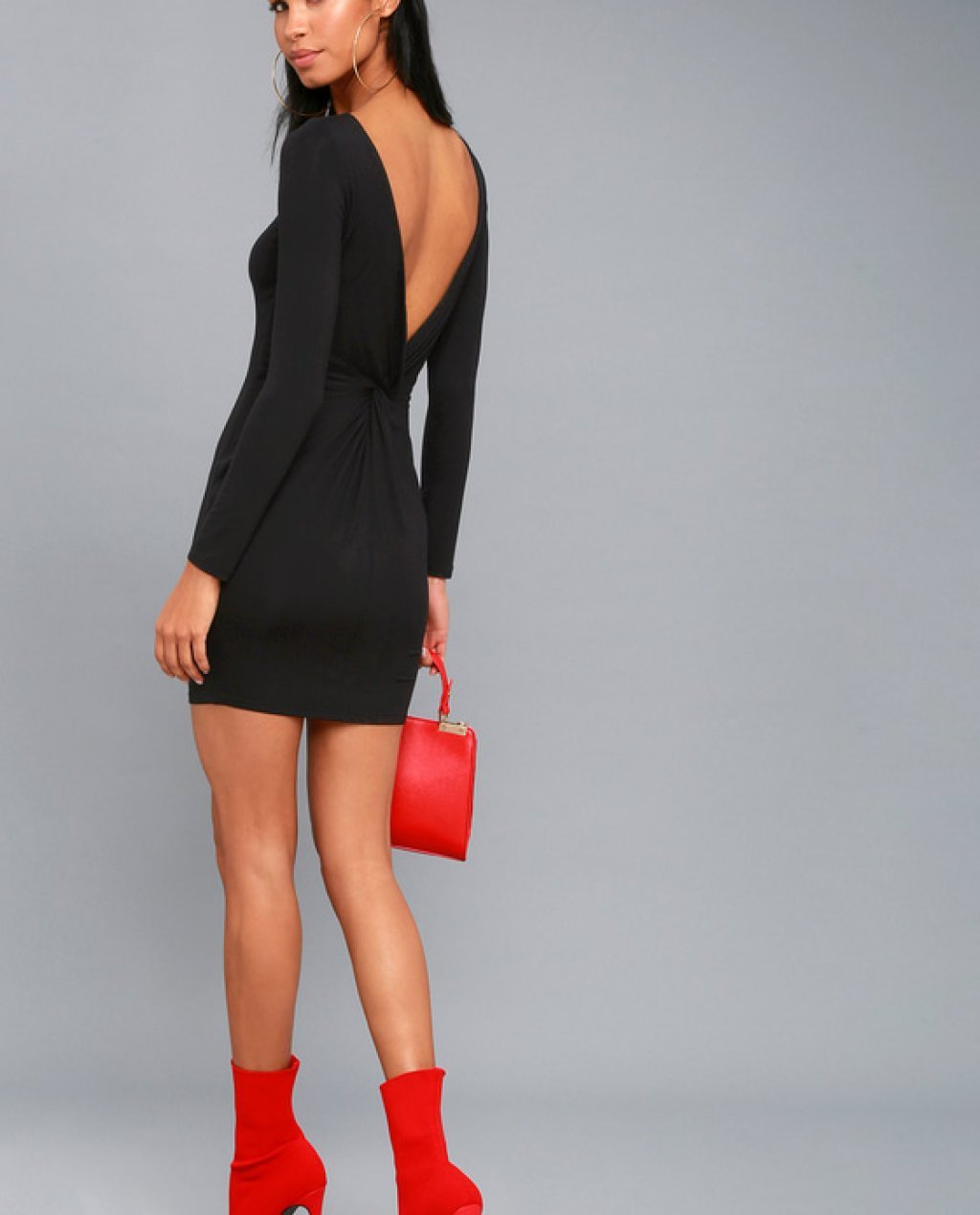 Twist and Tell Black Backless Bodycon Dress