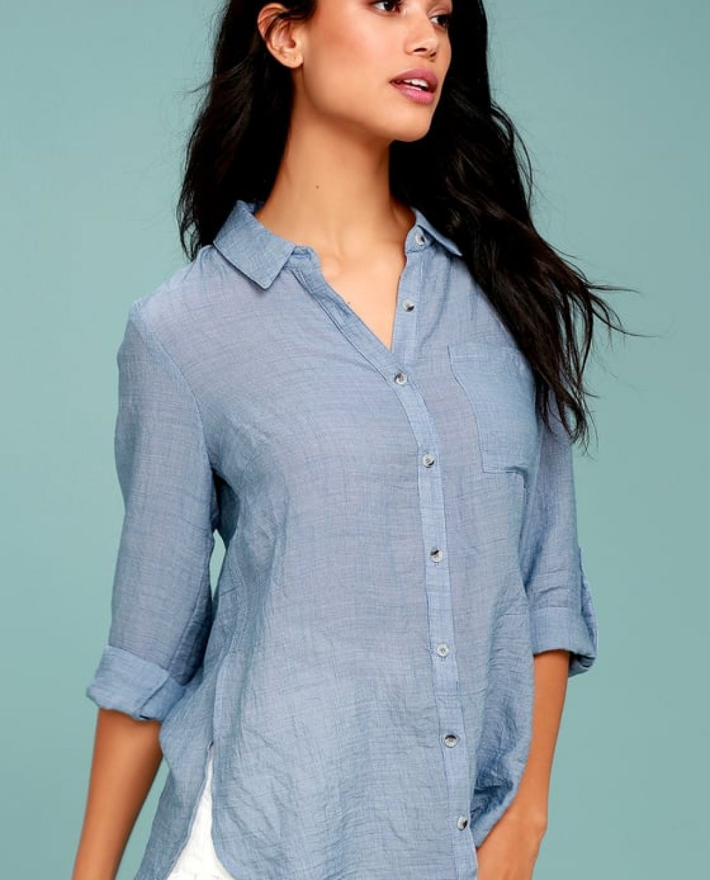 Up the Hillside Blue Long Sleeve High-Low Top