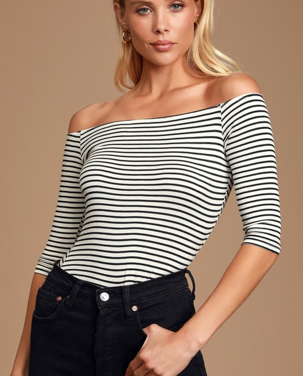 Upstage White and Black Striped Off-the-Shoulder Top