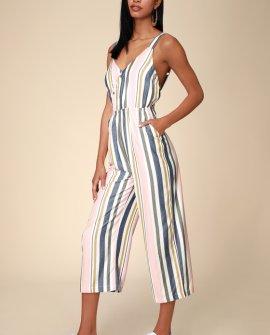Ursan Blush Multi Striped Surplice Culotte Jumpsuit