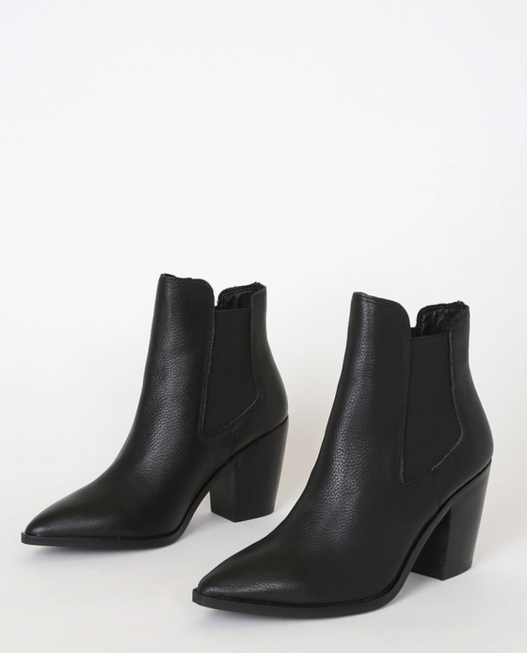 Utah Black Leather Pointed-Toe Ankle Booties