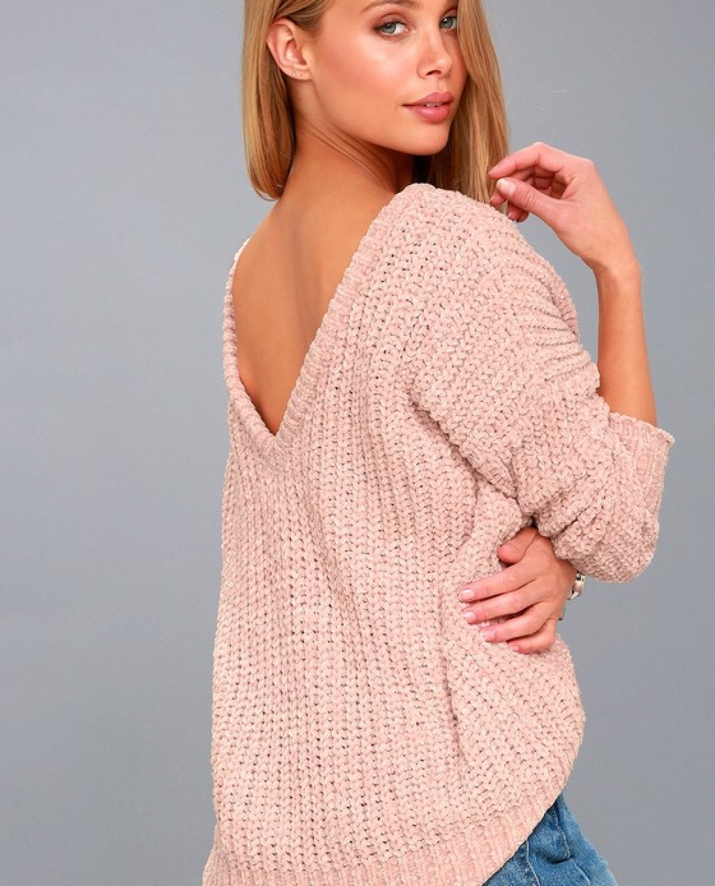 V Cute Blush Pink Chenille Knit Sweater
