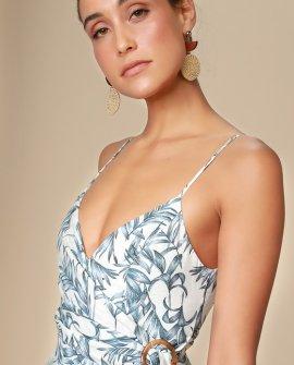 Vacay Mode Blue and White Leaf Print Surplice Midi Dress