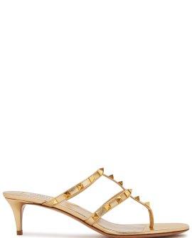 Valentino Garavani Rockstud 50 gold leather sandals