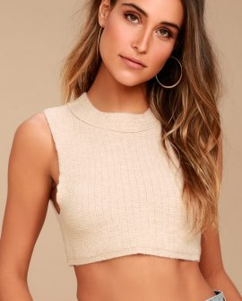 Valley Side Light Beige Cropped Vest