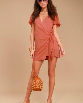 Vashti Rusty Rose Wrap Dress