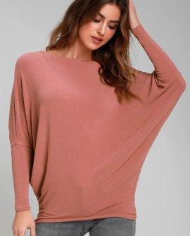 Verla Rusty Rose Dolman Sleeve Sweater Top