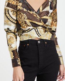 Versace Barocco Patchwork Silk Blouse