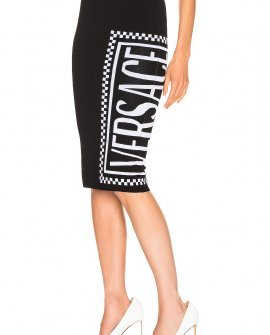 Versace Logo Midi Skirt in Black