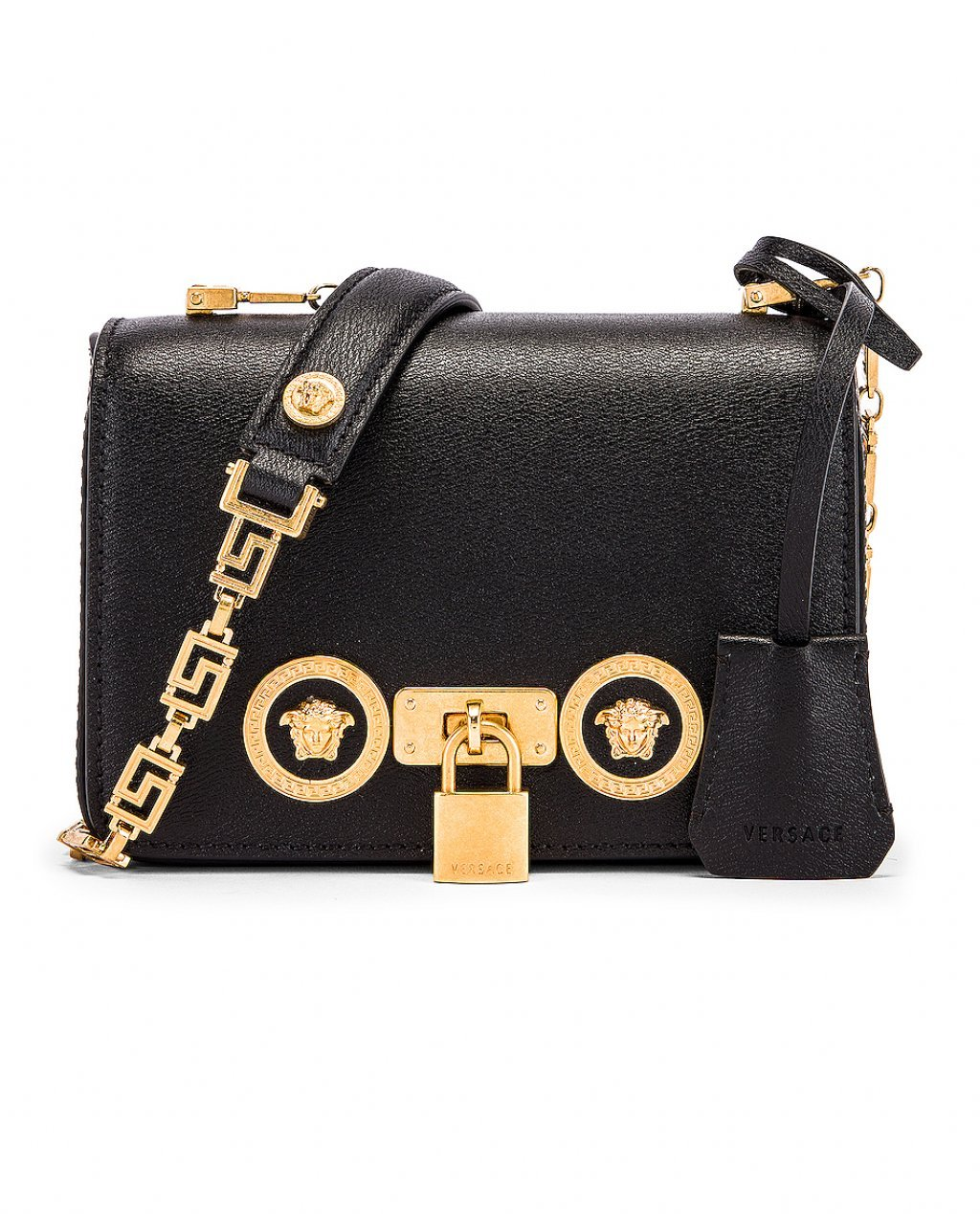 Versace Small Icon Flap Shoulder Bag in Black.
