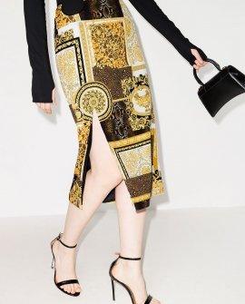 Versace baroque-print midi skirt