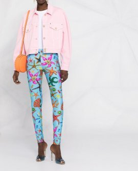 Versace cropped denim jacket Pink