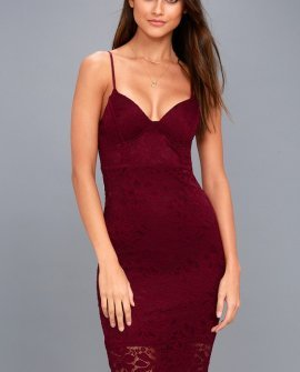 Versailles Burgundy Lace Bodycon Midi Dress