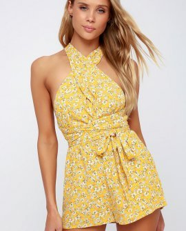 Versatile Style Yellow Floral Print Convertible Romper