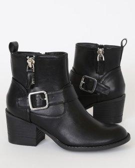 Vevi Black Buckled Ankle High Heel Boots